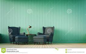 navy sofa and green wall with vertical stripes stock photo image