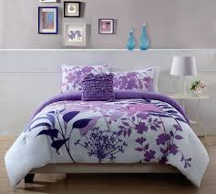Bed Comforters Full Size Furnitures Furnitures Floral Medallion Purple White Teen