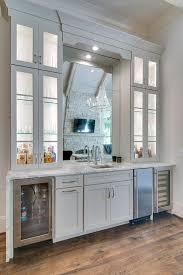Built In Bar Cabinets Wet Bar Mirror Backsplash Design Ideas
