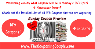 sunday coupon preview for 1 29 17 4 inserts u003d 186 coupons