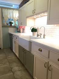Water Filtration Faucets Kitchen by Farm Sink Scalloped Trim White Subway Tile White Quartz