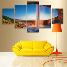 Home Decor Canvas Art Aliexpress Com Buy Modern 5 Pcs Abstract Waterfall Painting Home