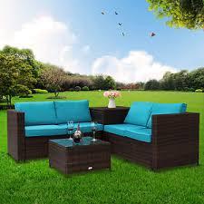 Wicker Indoor Sofa 4 Pc Rattan Outdoor Indoor Patio Garden Pe Wicker Storage Sofa