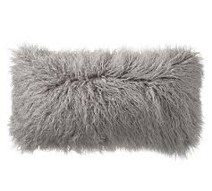 Pottery Barn Faux Fur Pillow Mongolian Faux Fur Pillow Cover Frost Gray Pottery Barn