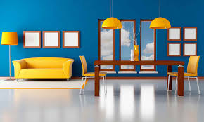 antique vintage living room design with yellow wall color and