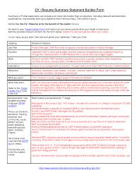 sle resume summary statements about personal values and traits exle resume summary statement exles of resumes