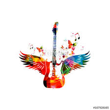 colorful guitar with wings stock image and royalty free vector