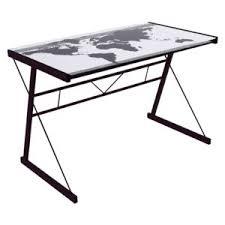 bureau verre trempé bureau en métal avec plateau en verre trempé sérigraphié carte du