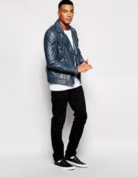 biker jacket men asos leather biker jacket in navy in blue for men lyst