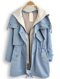 light blue trench coat light blue hooded long sleeve pockets trench coat shein sheinside