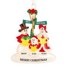 family of 3 personalized ornament