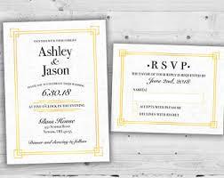 art deco wedding invitation etsy