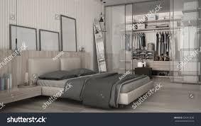 classic minimal bedroom walkin closet 3d stock illustration