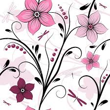 white seamless floral pattern with pink purple flowers and