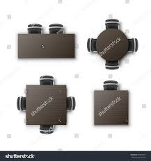 Office Chair Top View Vector Set Different Round Square Rectangular Stock Vector