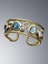 blue topaz bracelet gold images David yurman 18k yellow gold mosaic cuff bracelet w swiss blue jpg
