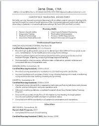 sle resume for nursing assistant job objective cna job description resume sle sle of cover letter
