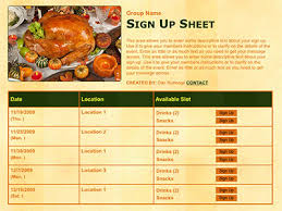 thanksgiving or harves potluck classroom volunteer sign up