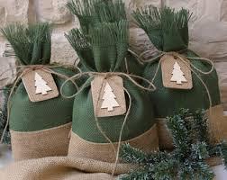 burlap gift bags white christmas tree set of four 7 x