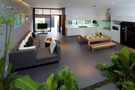 Grey Floor Living Room Home Design Open Living Room Design With Green Plantation And