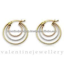 baby hoop earrings baby earring three tone hoop earrings in gold buy baby earrings