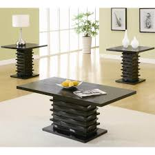 coffee table round dark wood and end sets black tables set glass