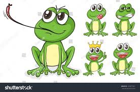 illustration green frogs on white background stock vector