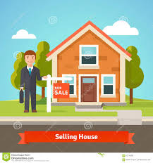 Selling House Real Estate Broker And House With For Sale Sign Stock Vector