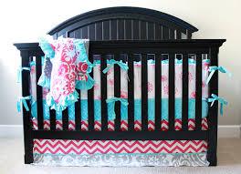 Pink And Aqua Crib Bedding Pink Crib Bedding Set Turquoise Gray Nursery Floral