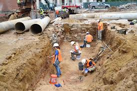 archaeological excavation at site of new museum of the american