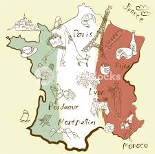 Map Of Paris France Stylized Map Of France Things That Different Regions In France