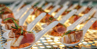 smoke salmon finger food at a cocktail reception stock photo