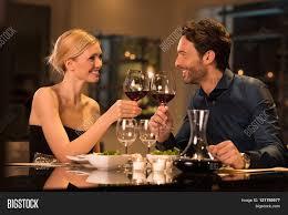 Beautiful Wine Glasses Romantic Young Couple Restaurant Image U0026 Photo Bigstock