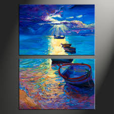 2 piece blue ocean oil paintings canvas photography