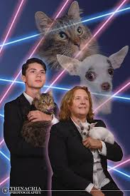 cat high the yearbook yearbook photo of student and principal with cat and chihuahua