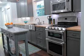 light grey kitchen cabinets with wood countertops modern gray kitchen with butcher block countertops hgtv