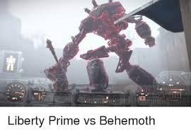 Liberty Prime Meme - aps 20 rads hp liberty prime vs behemoth meme on me me