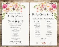 wedding program printable bohemian burgundy purple and pink