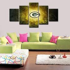 Canvas Home Store by 5 Panel Green Bay Packers Wall Art Picture Modern Home Decoration