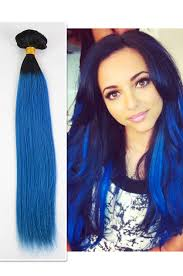 blue hair extensions 8pcs ombre clip in human hair color blue cpo07