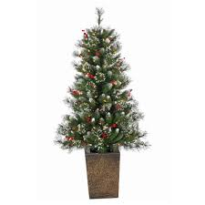 general foam 4 ft pre lit potted frosted pine artificial