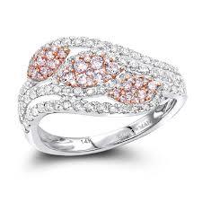rings gold white images Designer cocktail rings 14k gold white pink diamond leafs ring for jpg