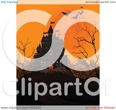clipart of a creepy haunted halloween castle with an orange sky