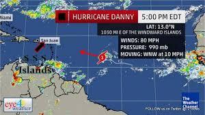 eye4weather 5 00 pm advisory hurricane danny a bit stronger