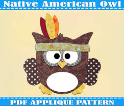 2015 thanksgiving american owl applique pattern template