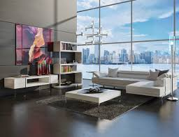 ultra modern white soho modern tv stand with built in shelves