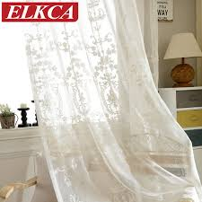White Curtains For Bedroom European White Embroidered Voile Curtains Bedroom Sheer Curtains