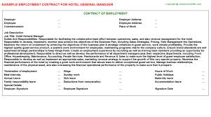 hotel general manager employment contract