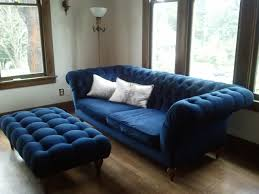 Light Blue Tufted Ottoman Furniture Charming Living Room With Blue Velvet Tufted Sofa And