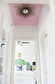Diy Ceiling Light by Diy Pink Ceiling And Sunburst Mirror